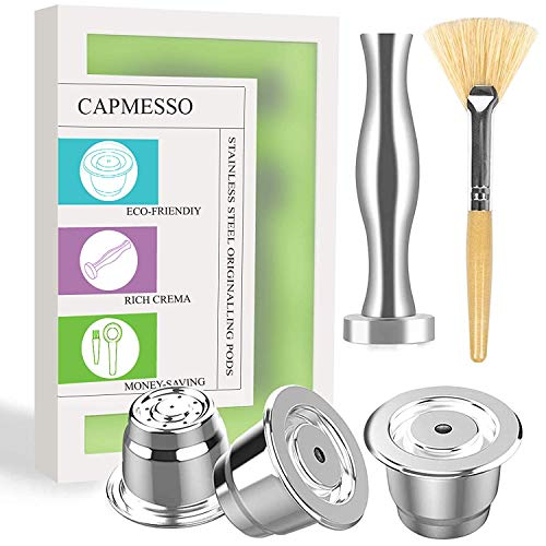 CAPMESSO Coffee Capsule, Espresso Refillable Reusable Capsules Compatible with Nespresso OriginalLine Brewers Reusable Espresso Coffee Pod Stainless Steel (3 pods Set +1 Tamper)