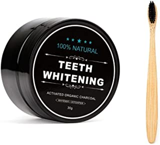 Teeth Whitening Charcoal Powder, Natural Activated Charcoal Teeth Whitener Powder with Bamboo Brush Oral Care Set (1.05 oz)