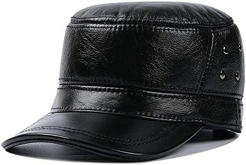 WAZHX Gorra De Cuero Gorras Planas para Hombre Sombrero Militar del Ejército Gorra De Béisbol para Hombre Elegante Sombreros De Cuero De Piel De Vaca Británica Vintage
