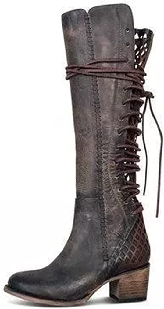 Duproker Women Retro Lace Up Zipper Knee High Combat Boots Vintage Pointed Toe Mid Calf Riding Boots