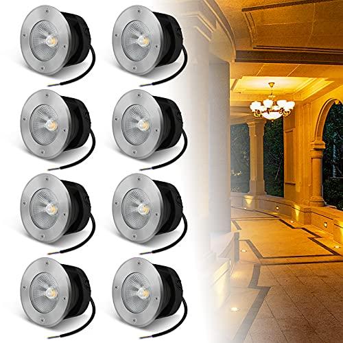 LZQ 8 faretti da incasso a pavimento, 10 W, luce bianca calda, IP65, per esterni, COB, illuminazione per esterni