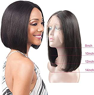 """Straight 8"""" Bob Wig Lace Deal 10A Real Virgin Raw Remy Human Hair Unprocessed Natural Color Pre Plucked Glue-less 150% Density (8 Inch, Frontal 13x4"""