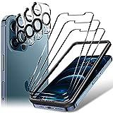LK 6 Pack Protector de Pantalla Compatible con iPhone 12 Pro MAX 6.7 Pulgada,Contiene 3 Pack Cristal Vidrio Templado y 3 Pack Protector de Lente de cámara, Doble Protección