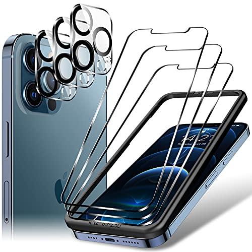 LK 6 Stück Schutzfolie kompatibel mit iPhone 12 Pro Max Panzerglas, 6.7 Zoll, 3 Schutzfolie & 3 Kamera Folie, 9H Festigkeit Glasfolie, HD Klar Bildschirmschutz, Kratzen, Blasenfrei