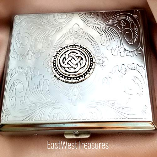 Celtic knot Cross Metal Cigarette Case Wallet Credit Card holder-Irish Celtic gifts for men women