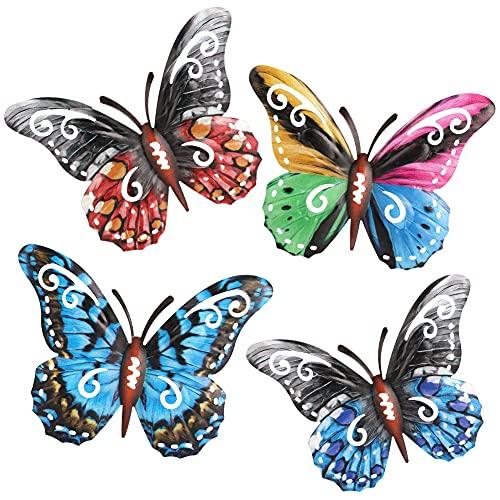 Wikay 4 Piezas 3D Mariposa Decoración de La Pared Jardín Patio Arte Decoración Mariposa Estatuilla Animal Colgante de Metal Esculturas de Pared Decoracione Adorno de Jardín De Interiores Exteriores