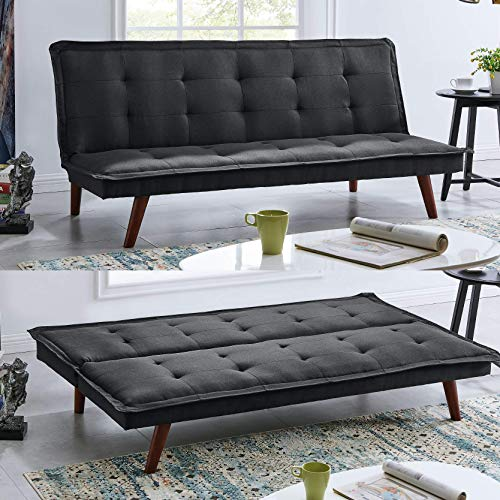 BRAVICH Modern TONI Scandinavian Black 2/3 Seater Sofa Bed Fabric Couch Settee Click Clack Sofa Bed Recliner Bed Sofa For Living Room Bedroom
