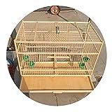 Jaula De Cría para Pájaros Jaula para Pájaros De Gran Capacidad Jaula para Pájaros con Base Dibujable Jaula De Pájaros De Bambú Antigua Hecha A Mano (Color : Wood Color, Size : 50 * 26 * 35cm)