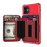 Serious Lamp Funda de piel tipo cartera para iPhone con ranuras para tarjetas, con cremallera, compatible con iPhone X/11/6/7/8, a prueba de golpes, color rojo, 11 XI PRO