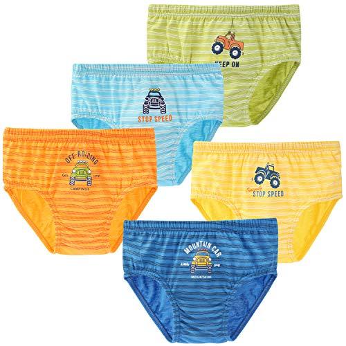 KEREDA Jungen Slips, Kinder Baumwolle Unterwäsche 5er Pack Auto Sortierte Unterhosen 2-7 Jahre(Mehrfarbig, 104-110)