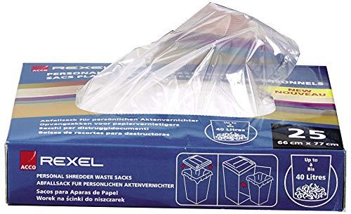 Rexel Plastikabfallbeutel für Aktenvernichter in Großbüros, 115 Liter, 100 Stück, 40070