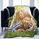 Custom Blanket with Photo Picture Name Personalized Blankets and Throws Anti-Pilling Flannel Customized Blanket for Baby Adult Dad Mom Grandma Grandpa,15 Background Options,50'x40'