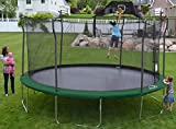 Propel Trampolines 15' Round Trampoline and Detachable Basketball Hoop, Mister and Enclosure