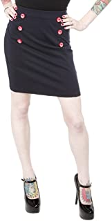 Sourpuss Navy Blue with Red Anchor Button Sailor Bop Skirt from Clothing