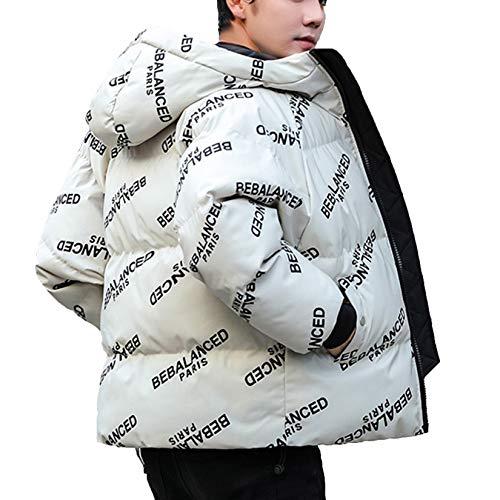 XYJD Abrigo de Invierno Chaqueta de algodón Gruesa con Capucha Suelta para Hombre Chaqueta de algodón con Estampado Juvenil