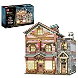 Myste Mould King 16039 - Bloques de construcción modular para casa (3 capas, diseño de tienda de escoba con luz, modelo de arquitectura urbana, 3033 + bloques de sujeción, compatible con Lego Creat)
