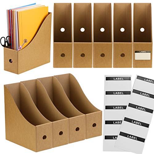 BILLIOTEAM 10PACK Kraft Corrugated Cardboard Magazine File Holder with Labels,Folder Holder,Desk File Organizer,Document Holder Box,Magazine Storage Box Desk File Organizer
