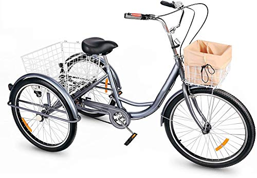 Viribus Triciclo para Adultos 24 con Cesta Extraible Bicicleta de 3 Ruedas para Compras, Ejercicios y Mascotas Bicicleta de Triciclo con Bolsa Impermeable y Campana