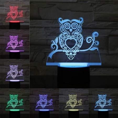 Imagen de dibujos animados búho en forma de corazón LED lámpara multicolor lámpara decorativa de acrílico lámpara de mesa pequeña creativa 3D visual luz nocturna regalo para niños
