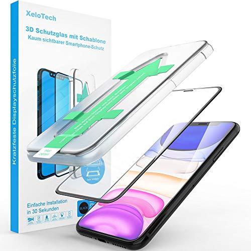 XeloTech Premium 3D Panzerglas für iPhone 11 Pro (5.8 Zoll) Vollglas mit Schablone - Kompatibel mit Hülle & Case - Panzerglasfolie Mit Randschutz