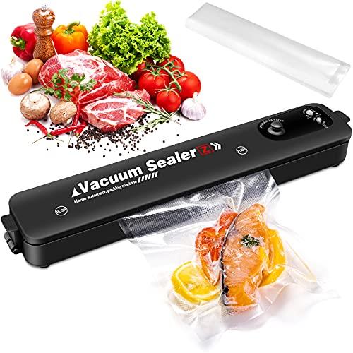 VPOW Vakuumiergerät, Automatischer Vakuumierer für trockene und feuchte Lebensmittel, leichtes Folienschweißgerät, für Schweißnähte bis 28cm, speziell für den Heimgebrauch mit 10 Vakuumbeuteln