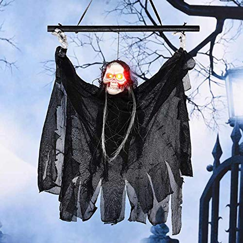 ZPFQFC Halloween Decorations Hanging Ghost Scary Prop Witch with Stick, Glowing Eyes and Creepy Shrilling Sound for Outdoor Indoor Haunted House Party Favor