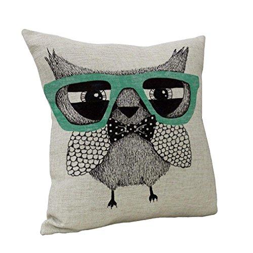 AUDIE Nunubee Square - Funda de cojín Decorativa de algodón y Lino, diseño de búhos