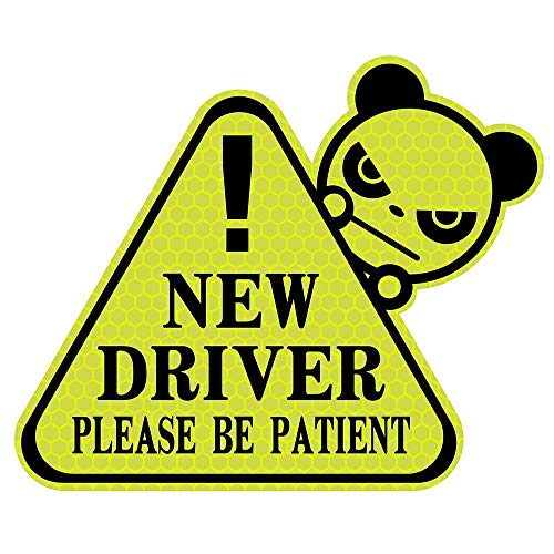 biinfu New Driver Sticker for Car, Funny Vehicle Sign Sticker for Student Driver,Reflective Waterproof-Yellow