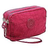 Fuerton Multifunction Three Layer Zipper Nylon Wallets for Women Wristlets Bag Purse Waterproof Cell Phone Pouch Handbag (Wine Red)