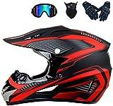 YXLM - Casco de motocross para adulto, accesorio para motocross, incluye guantes, guantes de moto/máscara, cascos de motocross, niño, casco integral BMX, azul, rojo, amarillo (rojo)