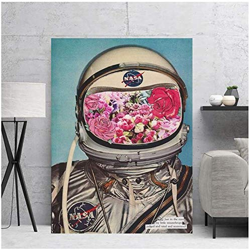 Muur Canvas Schilderij Poster Bloemen Ruimte Astronauten Pictures Voor Kinderkamer Nachtkastje Achtergrond Woondecoratie Print-50x70cmx1pcs-Geen Frame