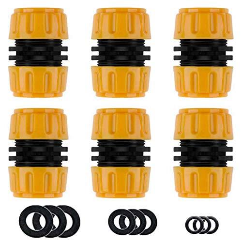 Y iRAN Reparator Schlauchverbinder 6 Stück, 1/2 \'\'Zoll Hose Quick Connector, Gartenschlauch Einfacher und schneller Anschluss oder Reparaturschlauch