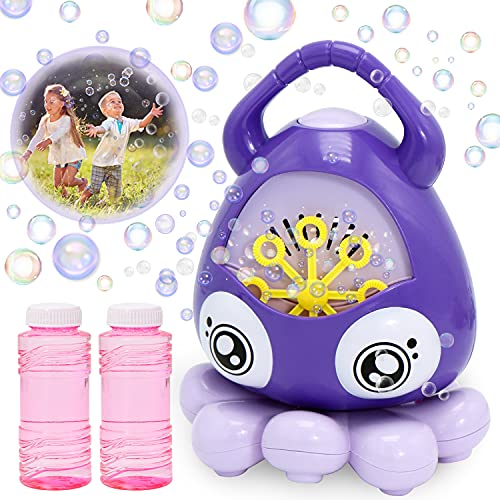 JOYIN Bubble Machine Blower for Toddlers Octopus Auto Bubble Maker Easy to Use with Bubble Solutions for Kids 3000 Bubbles/min Portable Bubble Toys for Wedding Indoor Outdoor Birthday
