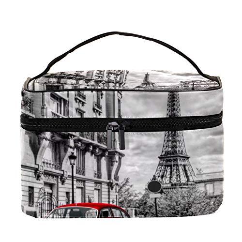 Cosmetic Bag for Women,Roomy Makeup Bags,Paris red car Eiffel Tower,Travel Waterproof Toiletry Bag Accessories Organizer