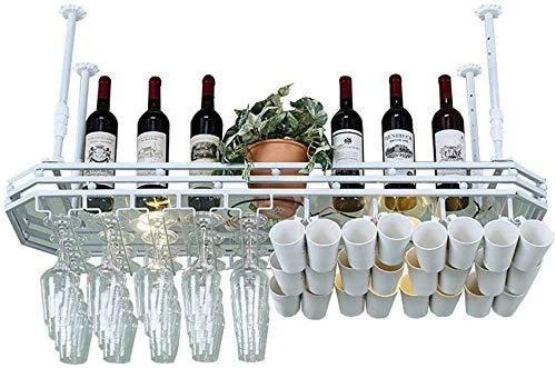 FWZJ Amantes del Vino/Estante para Vino de Pared Estante para Copas de Vino para Colgar Bar Estante para vinos Creativo Estante para Copas al revés Estante para decoración de Tec