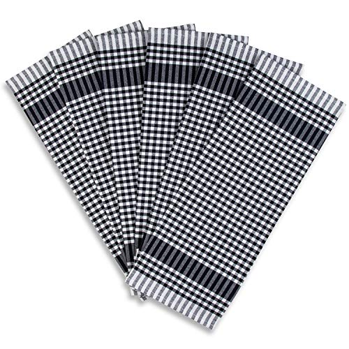 Rumi & Shams Dish Towels for Drying Dishes – 100% Cotton Premium Tea Towels – Multi-Purpose Kitchen Towels – Highly Absorbent and Lint Free – Set of 6 Pieces of 18 x 26 inches (Gingham Black)