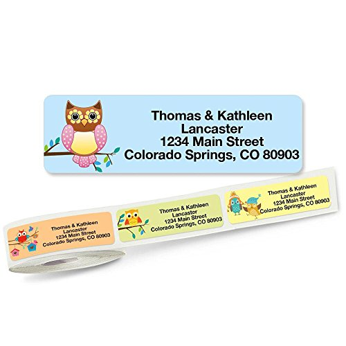 Owls Rolled Address Labels with Clear Dispenser by Colorful Images (5 Designs) Roll of 250