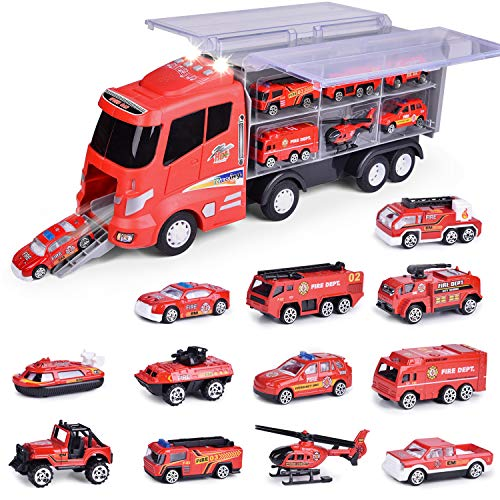 FUN LITTLE TOYS 12 in 1 Die-cast Fire Truck Toys, Toy Truck for Kids, Fire Engine Vehicle in Carrier Truck