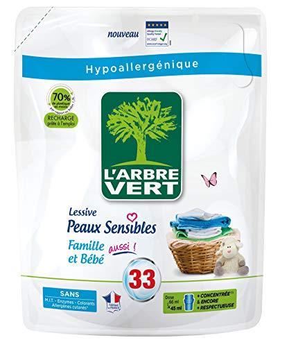 L'ARBRE VERT L'arbre vert - recharge lessive 1.5l peaux sensibles famille bb - 33 lavages - Le bidon...