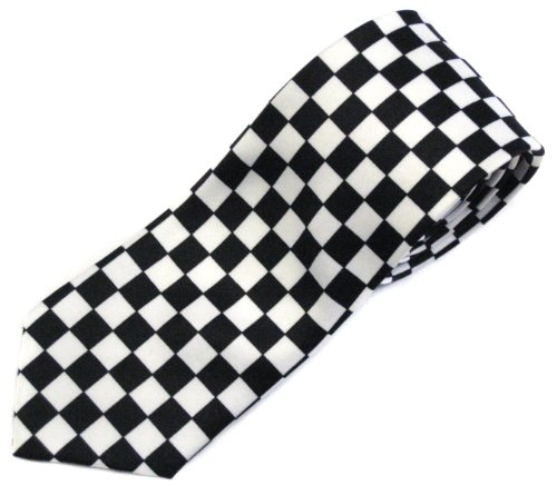 Punk Checkeres Pattern Tie Black/White - http://coolthings.us