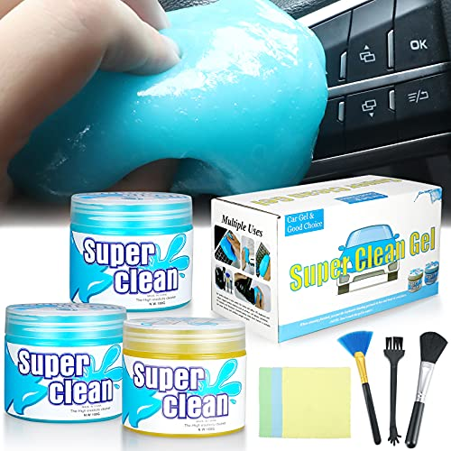 HIIXHC Car Cleaning Gel, 3 Pack Clean Slime Universal Auto Dust Keyboard Cleaner Automotive Interior Cleaning Sticky Mud Detail Tools for Laptop, Cleaner Keyboard Cleaner for Laptop