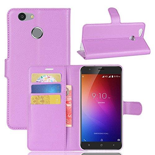 Owbb Hülle für Blackview E7 Ultra Schlanke Handyhülle Premium PU Ledertasche Flip Cover Wallet Case mit Stand Function Innenschlitzen Design Lila