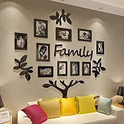 CrazyDeal Family Tree Picture Frame Collage 3D DIY Stickers with 10 Openings Photo Frame for Wall Mural Living Room Home