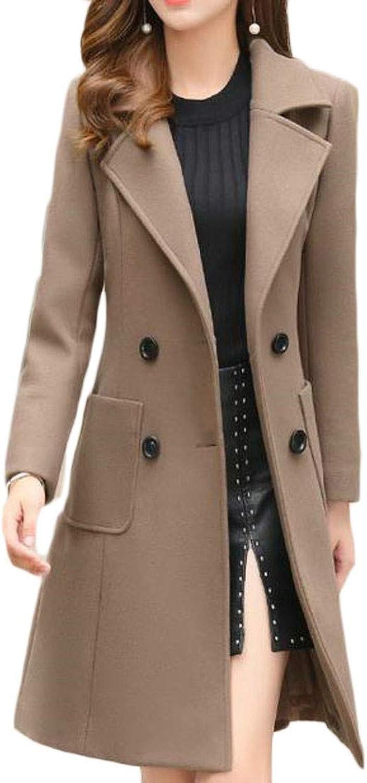Joe Wenko Women's Woolen Autumn Winter Overcoat Double Breasted Slim Fit Trench Coat