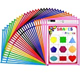 Gamenote Dry Erase Pockets 30 Pack with Rings - Oversized Reusable Plastic Sleeves Shop Ticket Holders Sheet Protectors Teacher Supplies for Classroom Organization (Colorful)