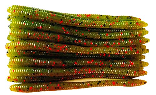 20 Pcs 5' Finesse Worms (Watermelon Red) Meat Getter Jr. Scented Soft Fishing Lures Bass Fishing