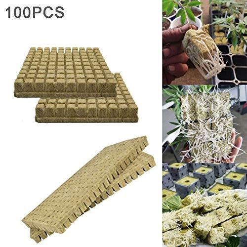 N/ A Steinwolle Anzuchtmatte, Würfel Samen Hydroponic Propagation Cloning Rockwool Blocks, 50/100 Stück Bodenloser Kultivierungswürfel für kräftiges Pflanzenwachstum (100)