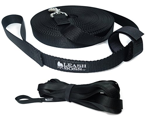 Leashboss Long Trainer 15 Foot Lead 1 Inch Nylon Long Dog Training Leash with Storage Strap - K9 Recall - for Large Dogs (15 Ft, 1 in, Black)