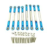 dailymall 8PCS Machined RC Front/Rear Steering Linkage Servo Link Pull Rod Turnbuckle for 1/16 WPL RC Car - Blue