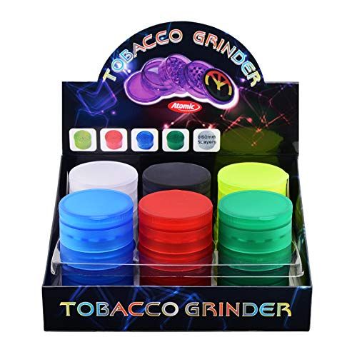 ATOMIC GRINDER IN PLASTICA GOMMATA, DIAMETRO Ø 60 - 5 PARTI - 6 COLORI ASSORTITI